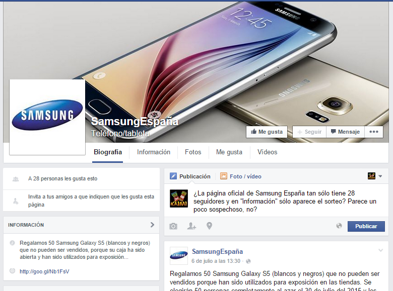 página fake de Samsung